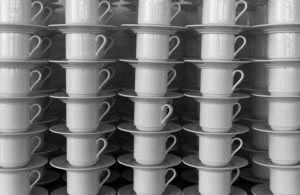Full Frame Shot Of Cups And Saucers