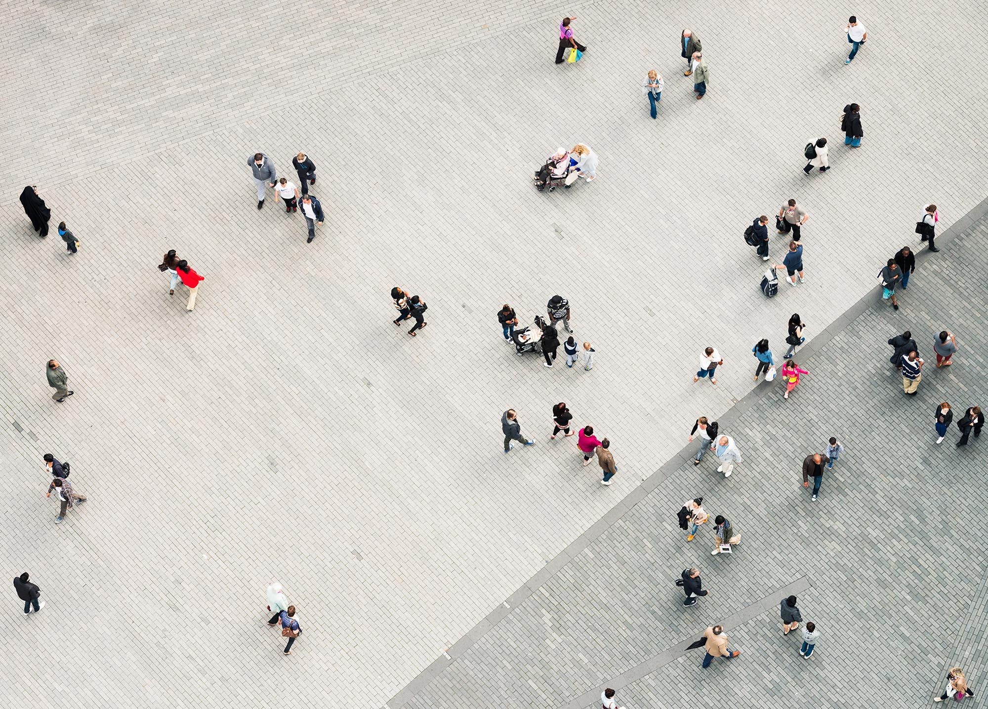 Urban crowd from above fine art photography
