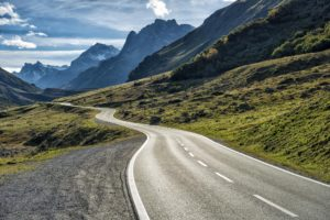 winding mountain road without cars