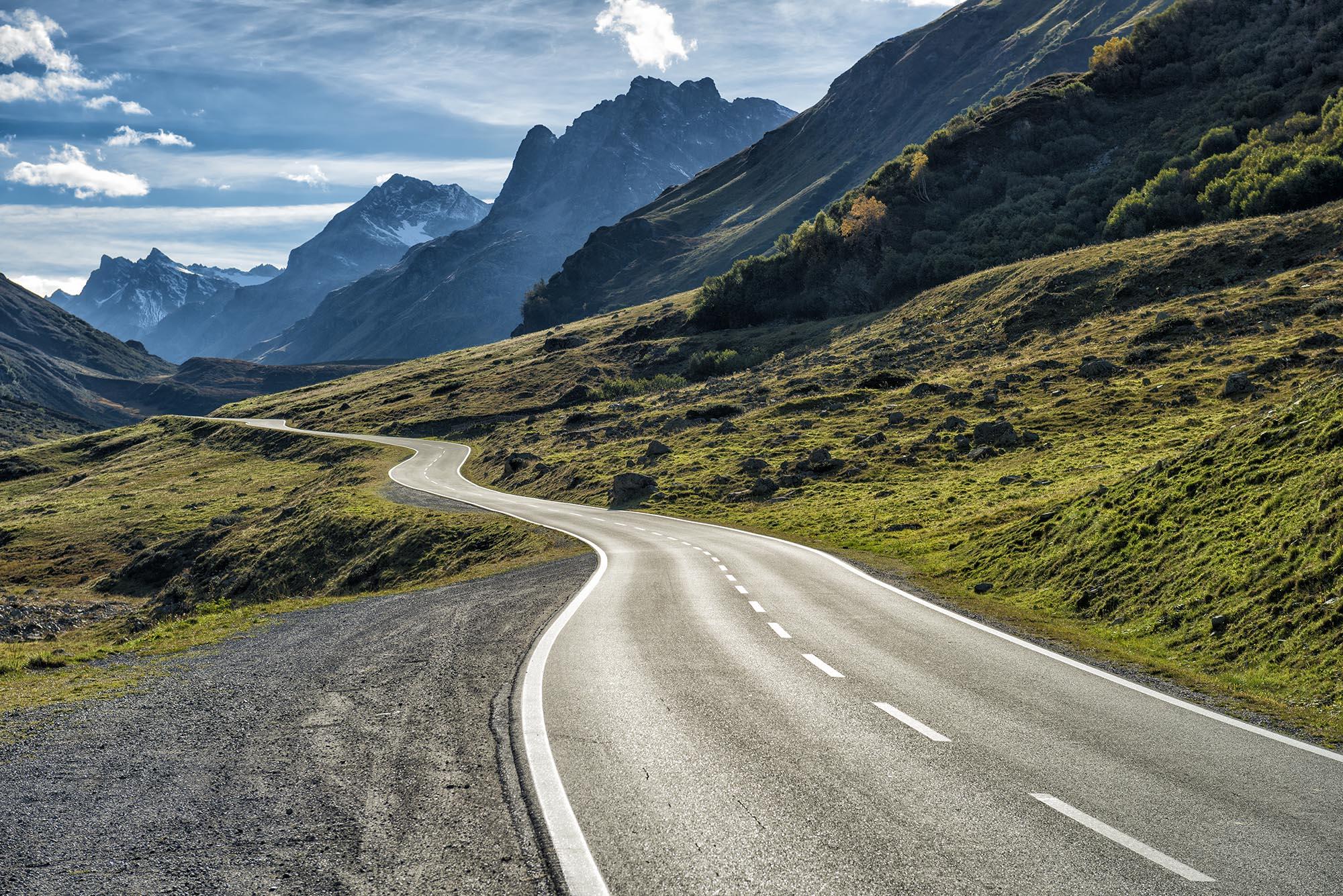 winding mountain road without cars fine art photography