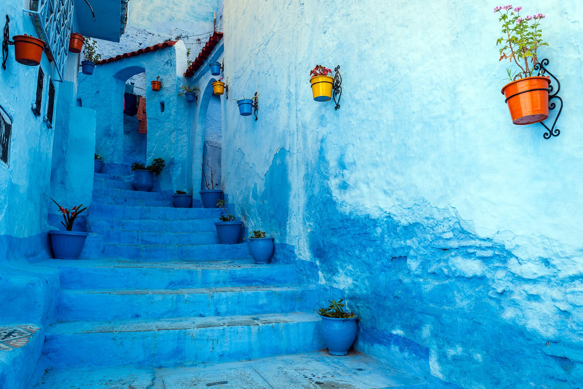 Blue staircase & colourful flowerpots, Chefchaouen,Morocco,North Africa fine art photography