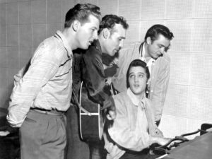 """Rock and roll musicians Jerry Lee Lewis, Carl Perkins, Elvis Presley and Johnny Cash as """"The Million Dollar Quartet"""""""